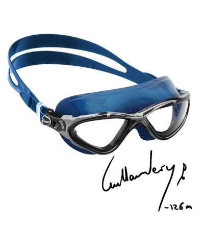 Lunettes de nage Cressi Planet avec jupe en silicone bleu pour la piscine, la mer & le triathlon - Ligne Guillaume Nery -126m