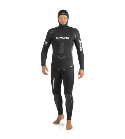 Combinaison 2 pièces veste + pantalon taille haute Cressi Apnea en néoprène metallite noir de 7mm - chasse sous-marine & apnée
