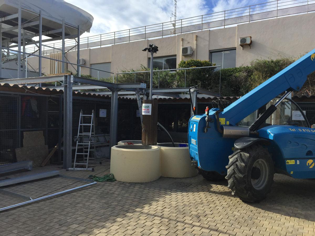 Début de montage de la structure de la nouvelle terrasse